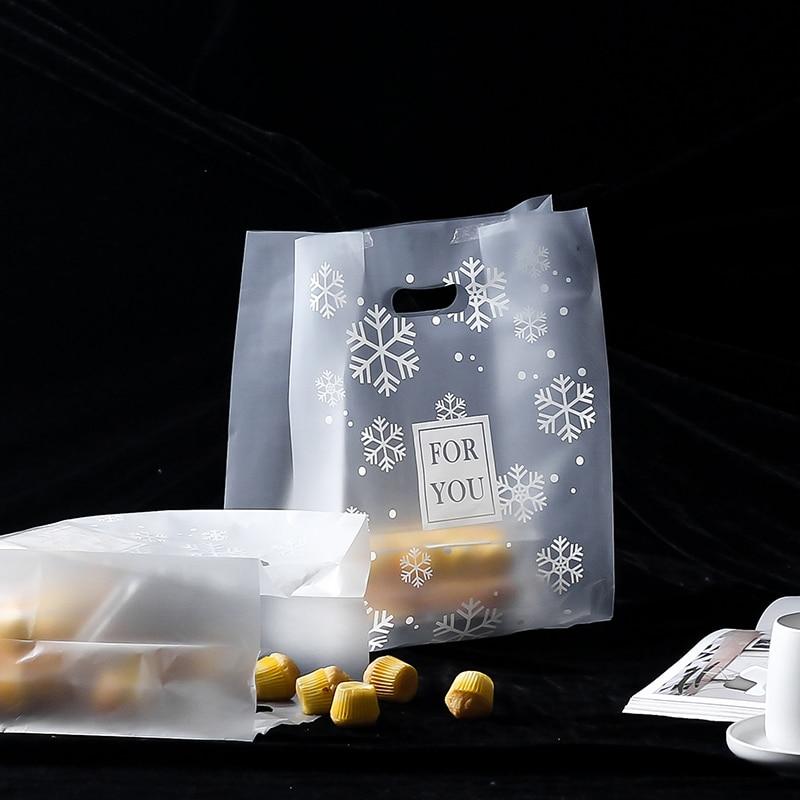 50pcs plastic Bread Packing bag Toast Baking Bag clear Takeaway Food Package Cake Bag with handle Coffee, fruit juice packaging