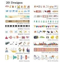 20 Designs 15/20/30mm * 8 M fruits/poisson/gâteau/légumes/Popsicle motif japonais Washi adhésif décoratif bricolage ruban de masquage