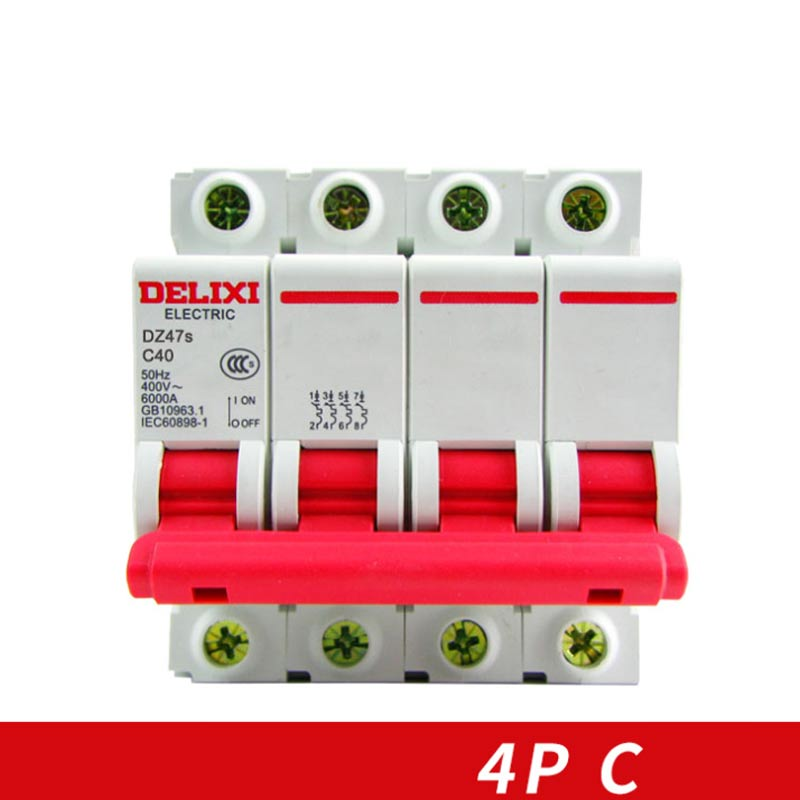 "DELIXI interruptor Air Circuit breaker miniatura DZ47S 4 MCB Pólo ""C"" Curvers 10A-63A 10A 16A 20A 25A 32A 40A 50A 63A"