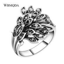 Vintage noir cristal paon anneaux de mariage pour femmes accessoires mode argent couleur petit Eeys feuilles anneau bulgarie bijoux