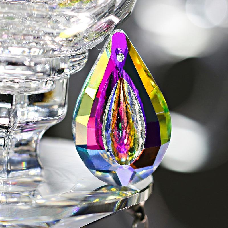H & D красочные лампы Призмы детали Loquat форма люстра стеклянные кристаллы Висячие капли Подвески 38 мм (Color-5pcs)