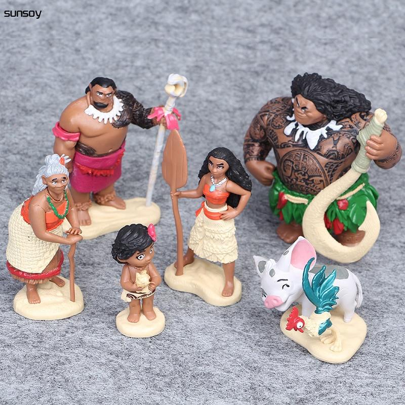 6 unids/lote Moana juguetes de figuras de personajes animados Waialiki Heihei Moana aventura princesa niños figuritas juguete adorno decorativo para pastel 6-12CM
