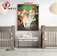 nordic santa rosa llama posters and prints flower canvas painting for living room wall picture scandinavian home decor no frame