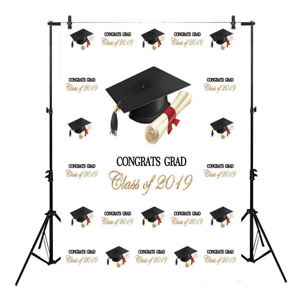 Neoback Class of 2019 Photo Background Graduation Theme Party Backdrop for Students Bachelor Cap Step Repeat Pattern