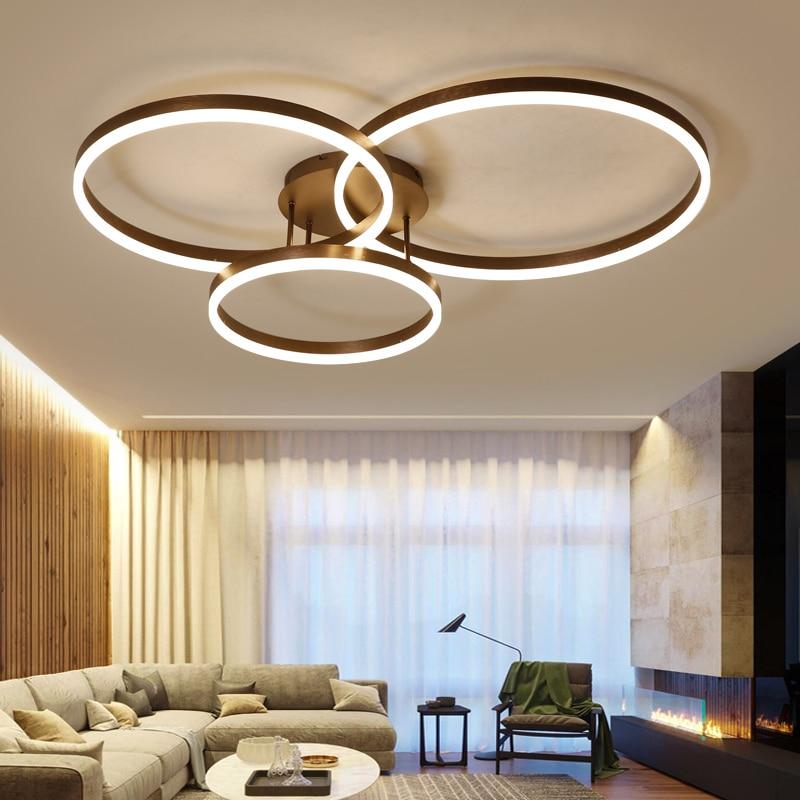 New Arrival designer Creative Circle rings modern LED ceiling lights for livingroom bedroom Remote control lamp fixtures