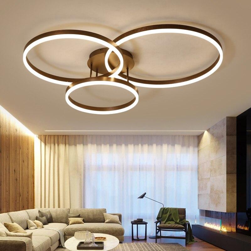 Novedad, anillos circulares creativos de diseño, luces de techo LED modernas para sala de estar, dormitorio, lámparas de techo a control remoto, accesorios