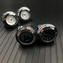 """Водонепроницаемые 7/8 """"хромированные часы для мотоцикла с креплением на руль кварцевые часы для Honda Для Yamaha для Suzuki для Kawasaki"""