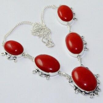 Коралловое ожерелье серебряное покрытие над медью, 49,7 см, N1824