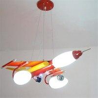 Big Plane Chandelier Blue Red Metal Lamp For Boys Kids Children Bedroom Living Room Suspension Lighting Fixtures PL269