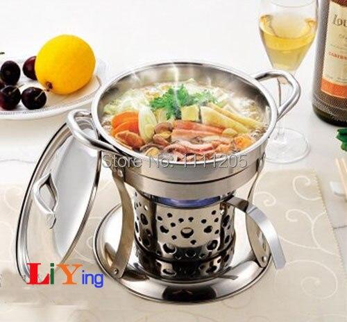 Набор кастрюль для жарки из нержавеющей стали, держатель крышки для жидкого спирта, Нагреватель Мини-посуды 18 см, подогреватель подносов для еды