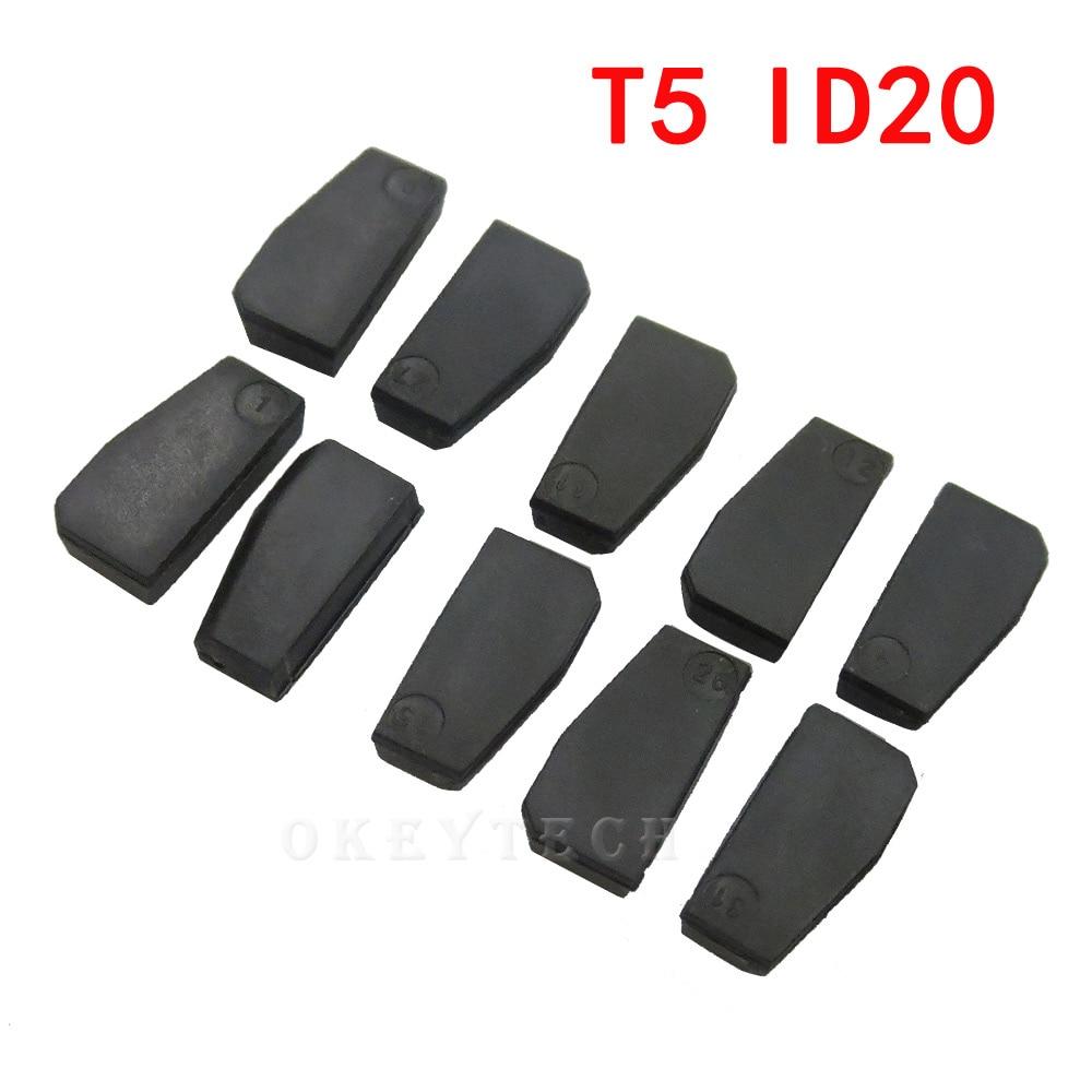 10 шт. Автомобильный ключ чип T5 ID20 керамический для автомобиля ключ слесарный инструмент ID T5 транспондер чип карбоновый оригинальный новый п...