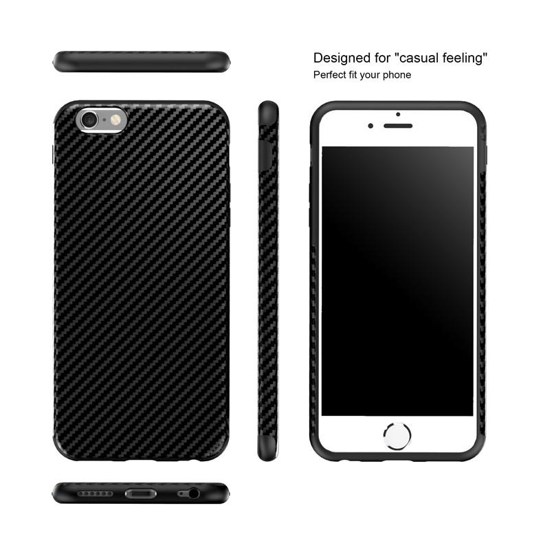 Najnowszy środowiska carbon fiber case dla iphone 6 6s plus miękkie antypoślizgowa anti-puk pokrywy dla iphone 7/plus skóra skóra torba 3