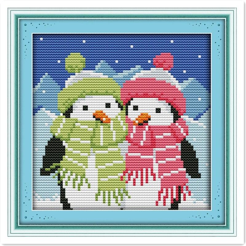 Un par de pingüinos DIY Set 11CT 14CT impreso en lienzo punto de cruz Kit chino conteo punto de cruz patrón NC decoración del hogar