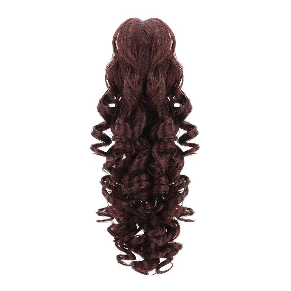 "18 ""cordón sintético Cola de Caballo pinza en extensiones de cabello peluca marrón Ondulado natural Clip en extensiones de cabello Cola de Caballo peluca"