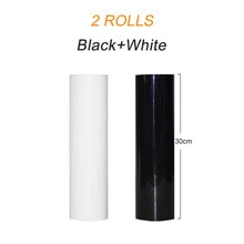 Free shipping 2 rolls 30cmx20m BLACK WHITE PVC Heat Transfer Vinyl Heat Press Machine T-shirt Iron On HTV Printing