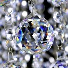 Lustre à prisme pièces en cristal   Boule de verre à facettes, éclairage suspendu en boule, receveur de soleil, décor de maison de mariage et de noël, 20-50mm