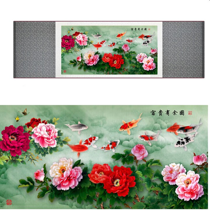 모란 꽃과 물고기 paiting 중국어 번체 예술 그림 실크 스크롤 아트 페인팅