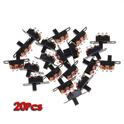 Interruptor deslizante THGS 20 piezas 5V 0,3 A Mini tamaño negro SPDT para pequeña potencia DIY