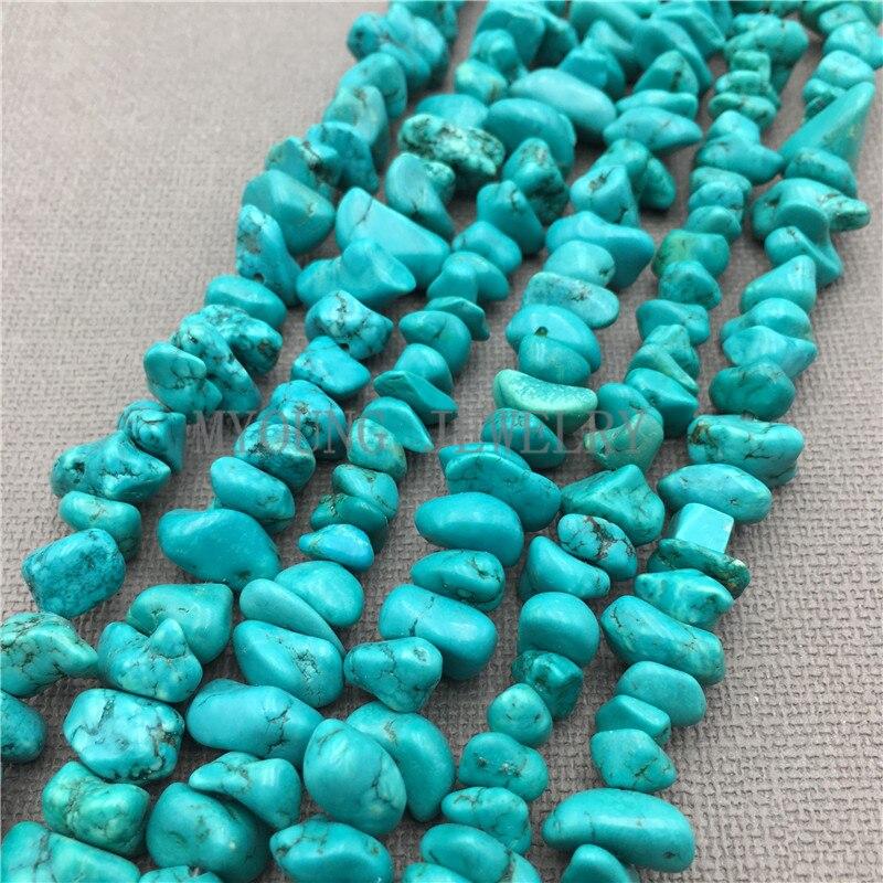Cuentas turquesas azules crudas, cuentas de gravilla howlita, piedra semipreciosa para joyería MY0166