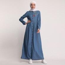 Caftan en Denim Abaya dubaï Islam Cardigan Hijab Robe musulmane Abayas pour les femmes Qatar eau Oman Caftan Robe turc vêtements islamiques