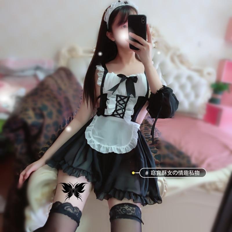 Kawaii maid lingerie cosplay meio copo micro g-string sexo saia ligerie sexy conjunto completo erótico amante roupa interior japonês