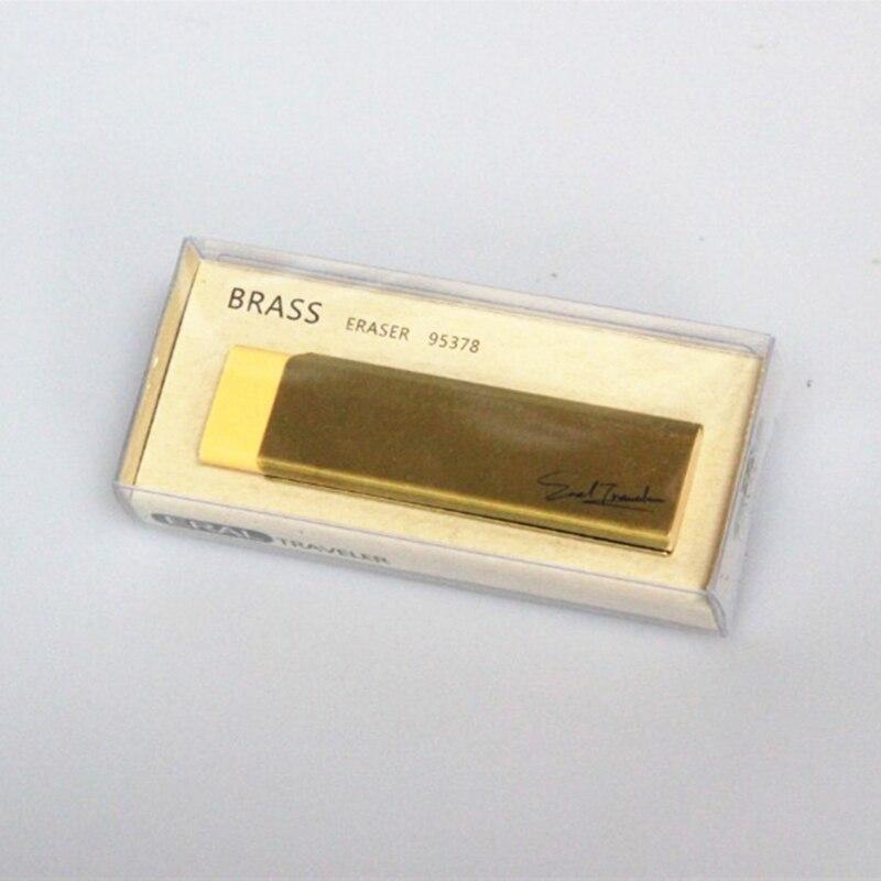 (ET) le caoutchouc en laiton du voyageur. Série de papeterie en métal doré. Très beau rétro voyage papeterie série photos accessoires.