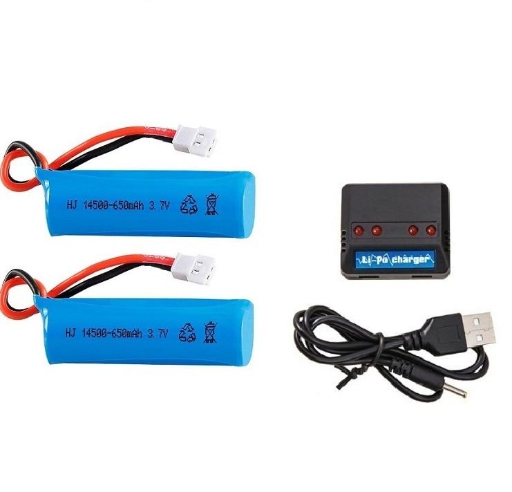 Ewellsold 2pc H116 de 2,4 GHz de 4 canales Mini R/C/Barco de 3,7 V 650mAh batería de Li-Ion 14500/cargador