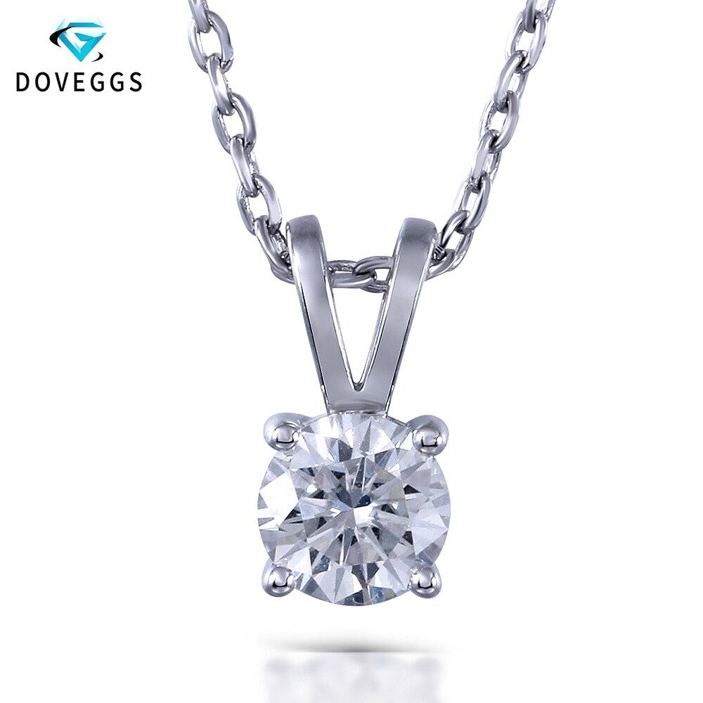Doveggs 1ctw gh cor laboratório crescido moissanite diamante pingente colar para mulher esterlina sólido 925 prata corrente neclace