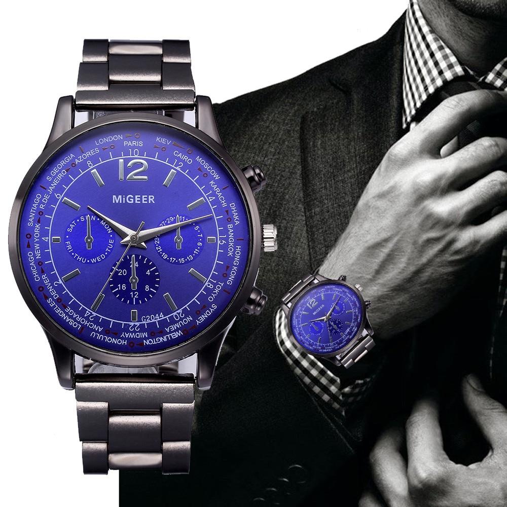 De lujo de reloj de cuarzo de la marca de los hombres de acero inoxidable cronógrafo militar del ejército de la muñeca reloj Relogio Masculino hombre 533
