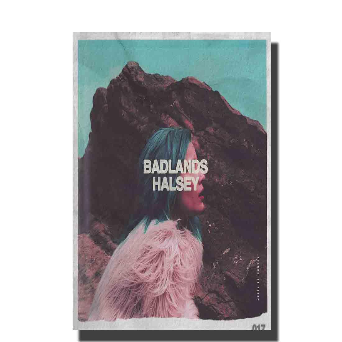 Cartel de arte Halsey badland álbum de música cubierta cantante Star pared lienzo moderno para pintura Decor12x18 24x36 27x40