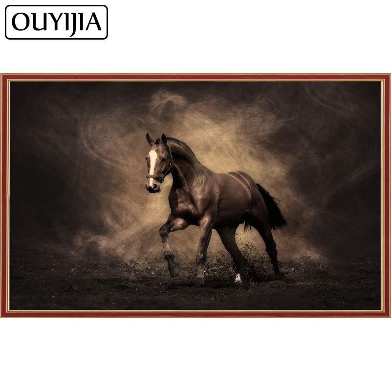 OUYIJIA aceite caballo de guerra 5D diamante pintura mosaico Cruz hecho a mano de Anima diamante del bordado de decoración del hogar