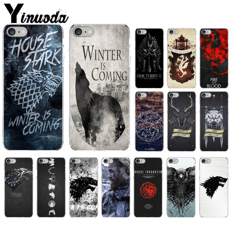 Yinuoda juego tronos Lobo personalizado DIY impresión dibujo teléfono funda carcasa para iPhoneX XS MAX 6 6s 7 7plus 8 8Plus 5 5S SE XR