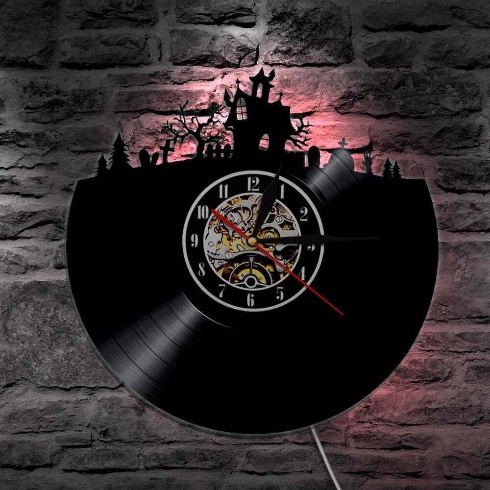 1 pieza de luz Led de vinilo para pared de Halloween, iluminación Vintage LP, regalo hecho a mano, Lámpara decorativa, Control remoto, reloj creativo