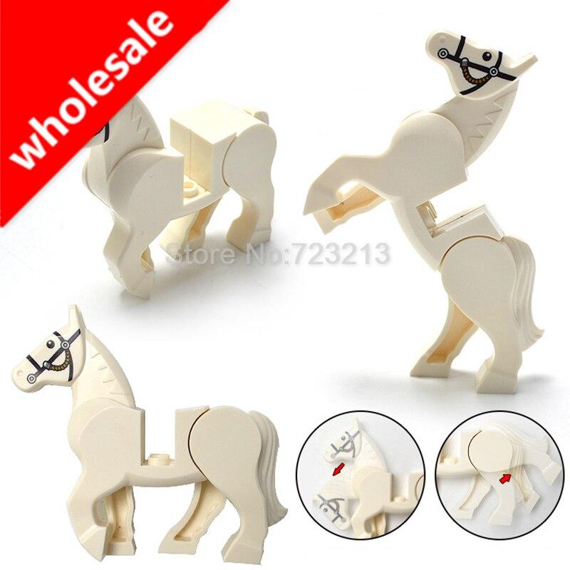 Venta al por mayor, juego de figuras de caballos de 20 piezas, accesorios de animales de bloques de construcción, Kits de modelos MOC, juguetes para niños
