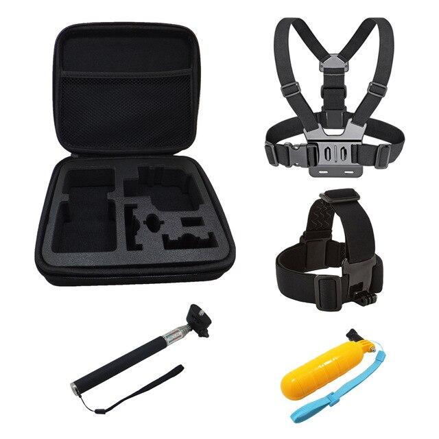 Pecho + cinturón de cabeza + corcho flotante + PALO de selfie + bolsa de almacenamiento, montaje para gopro hero 5 4 accesorios Set cámara de deporte de acción