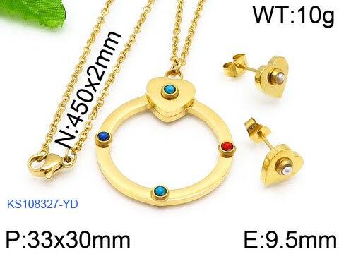 Moda feminina cor ouro aço inoxidável redondo coração estrela flor zircão urso animal colar brincos conjuntos de jóias