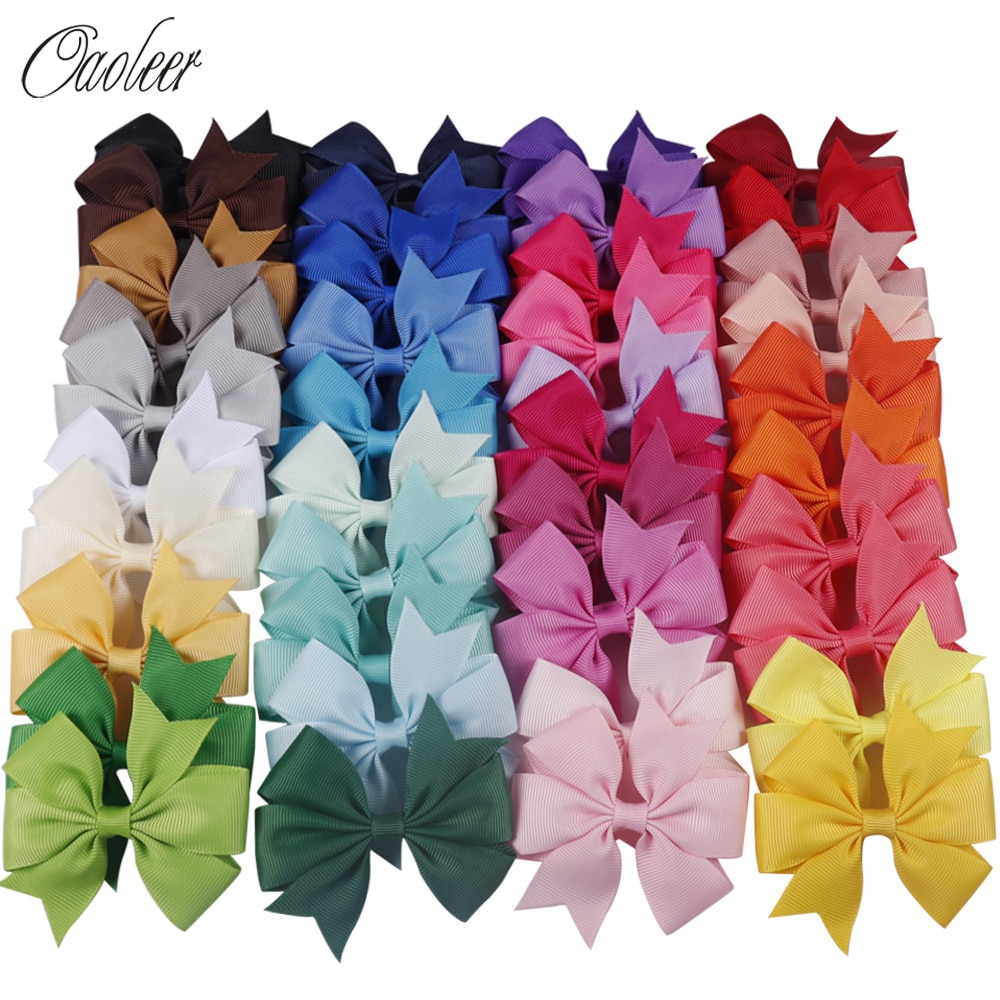 20-40pcs Colors 3inch Solid Grosgrain Ribbon Bows WITH Clip Girls' Boutique PinWheel Hair Clip Kids Hair Accessories