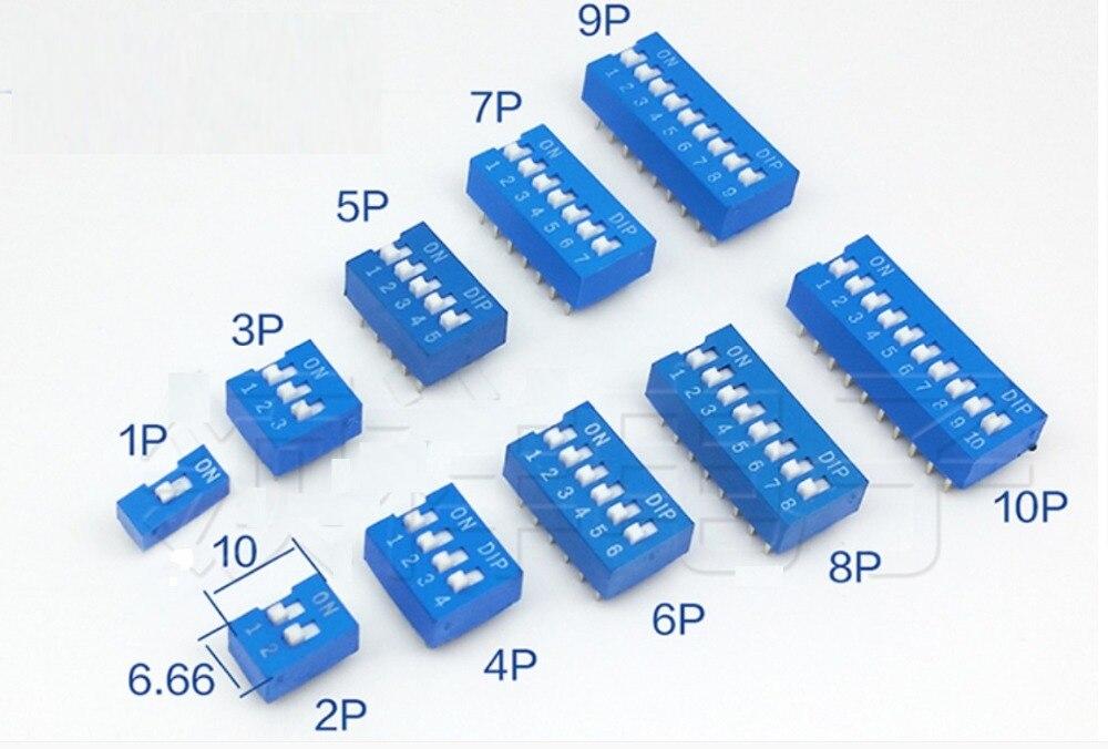 Frete grátis 50 peças 2x1 p/2 p/3 p/4 p/5 p/6 p/7 p/8 p/9 p/10 p posição vermelho/azul mergulho interruptor dip 1-10pin da fileira do passo 2 do interruptor 2.54mm