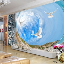 Tamaño personalizado Vortex cielo azul pájaros paisaje Mural 3D papel tapiz estereoscópico para sala de estar TV sofá Fondo decoración del hogar