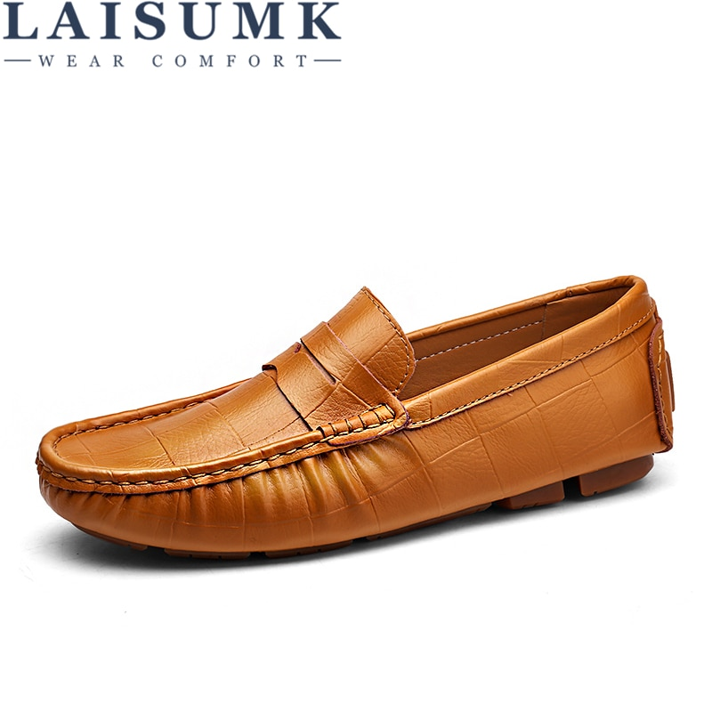 LAISUMK 2020 New Men Casual Driving Shoes Leather Loafers Luxury Flats Male Chaussure Big Size