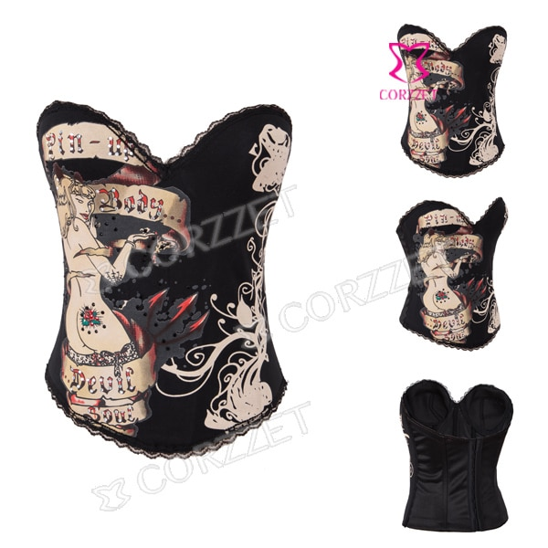 De Burlesque Shapewear cuerpo ramillete de señora de las mujeres de algodón negro Pin Sexy corsé gótico Overbust Corpetes E Espartilhos2014