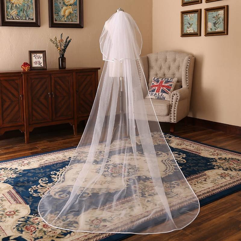 Velo de novia largo de tul blanco marfil de 3 metros con peine para novia, accesorios de boda 2018