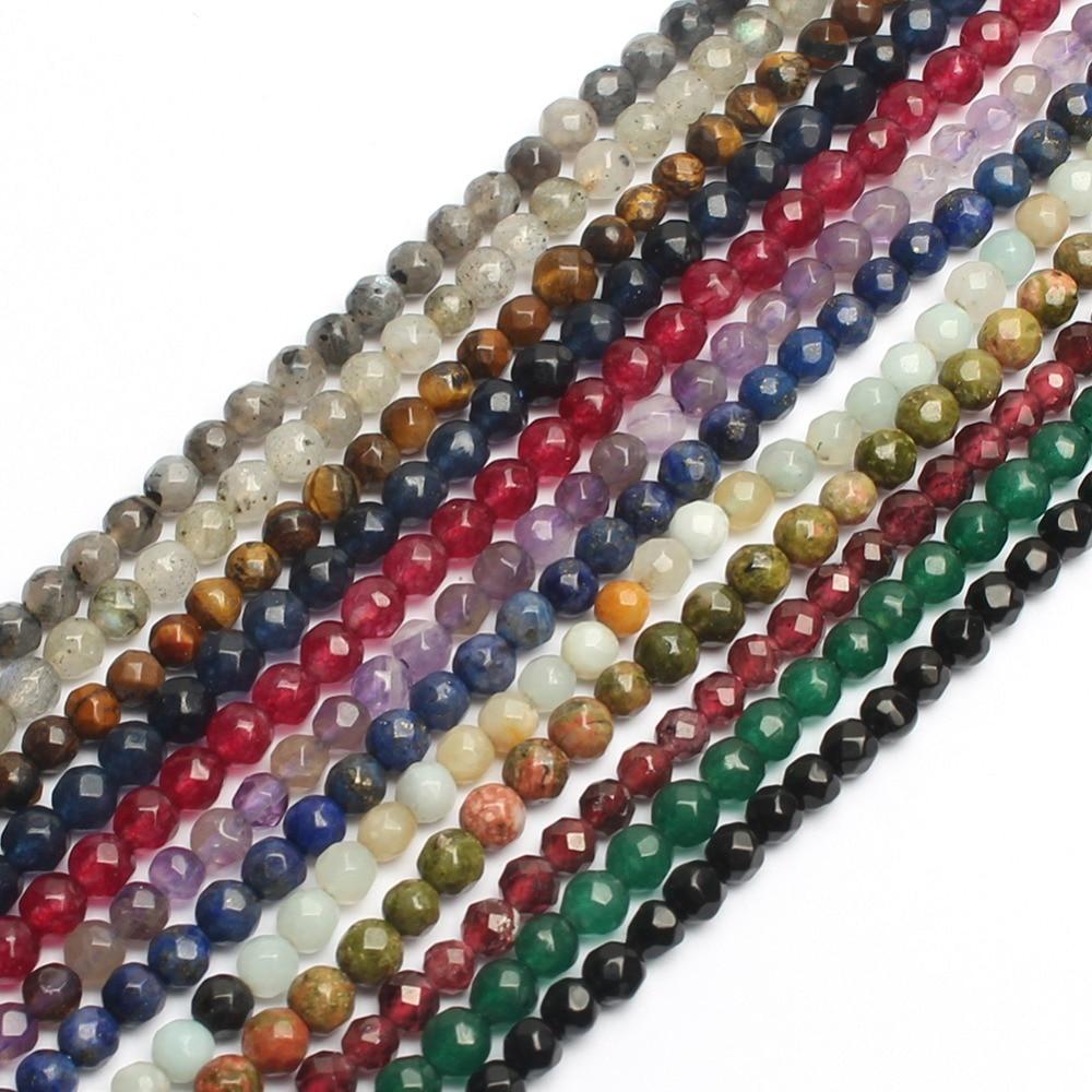 Cuentas naturales de 3mm facetadas, cuentas de piedras preciosas de cristal de cuarzo Sunstone para la fabricación de joyas, collar de pulsera DIY
