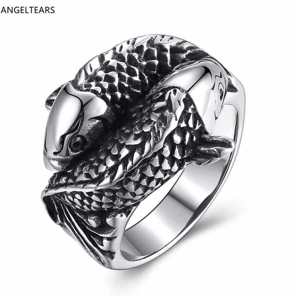 316l titânio aço peixe forma dedo anel legal masculino punk jóias presente de natal tamanho 8-12 # drop shipping anel