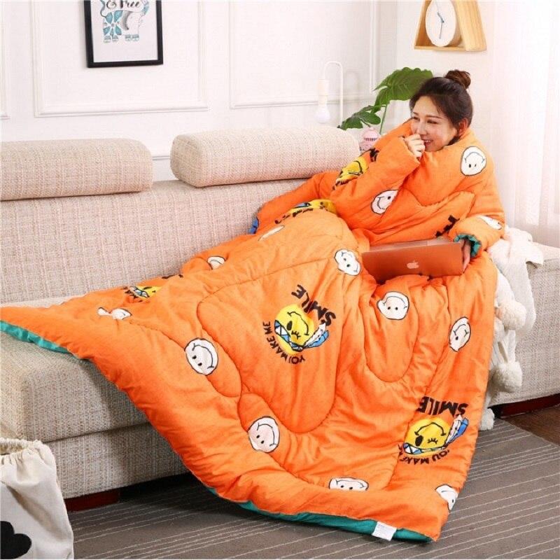 Inverno preguiçoso colcha com mangas colcha de inverno casa cama impresso quente inverno algodão enchimento família cobertor capa capa consolador