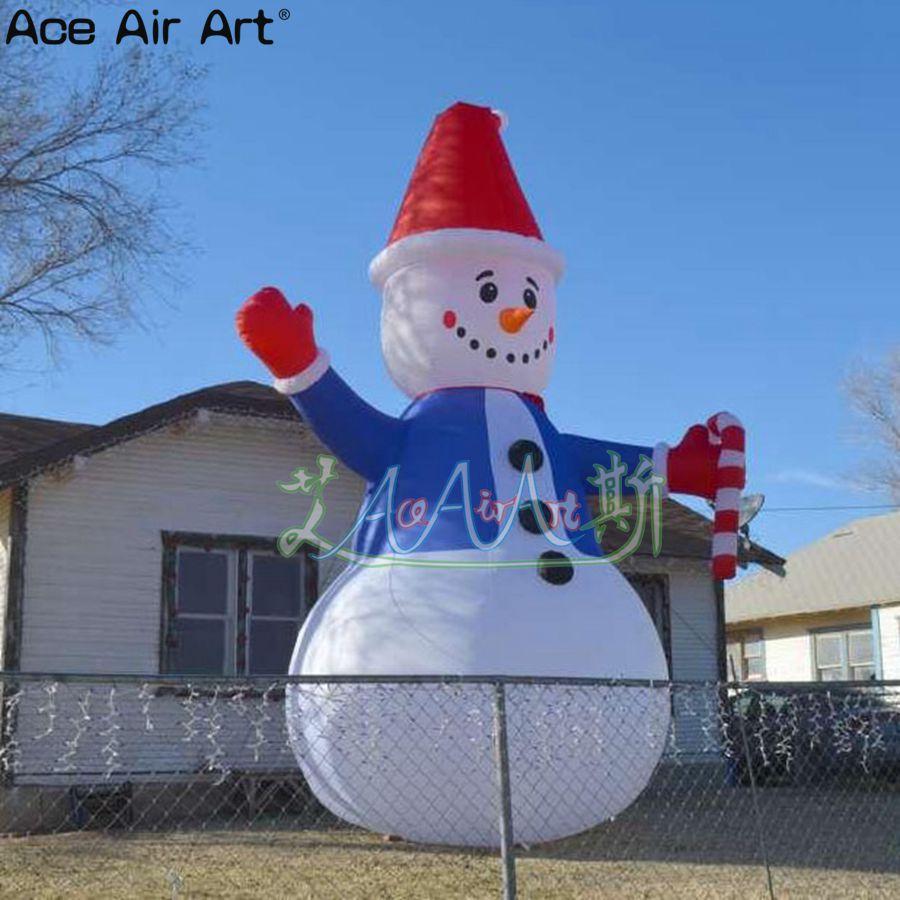 Открытый двор украшения надувной Рождественский Снеговик одет в синий, Рождественский надувной снеговик для продажи