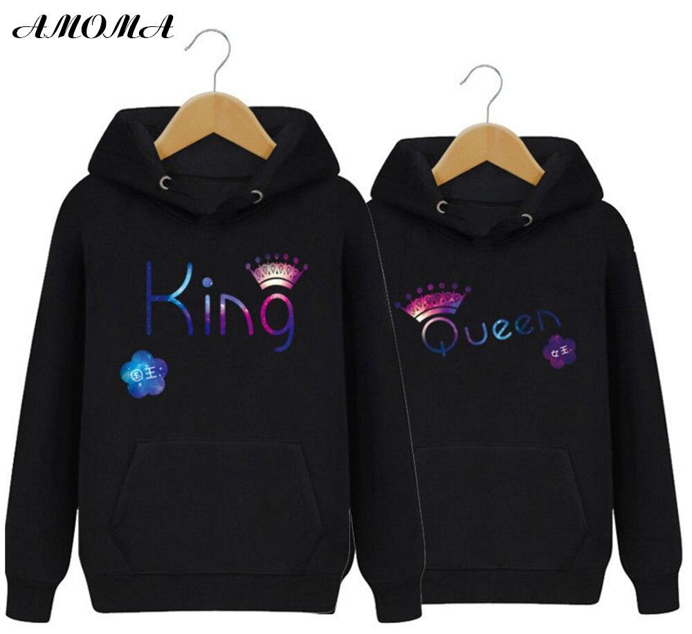 Sudadera con capucha de pareja de AMOMA para amantes de moda Pullover de Color puro con estampado 3D King Queen