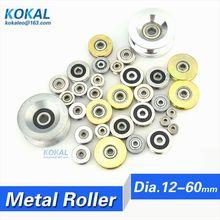 10PCS high quality U/V Groove Type Bearing Roller Wheel metal steel bearing roller wheel hanger Guide track rail pulley