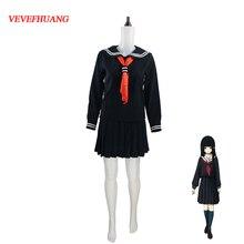 VEVEFHUANG Japanischen/Koreanische Hell Girl Enma Ai Cosplay Schuluniformen JK Student Seemann Anzug Top + Kleid + Tie + Socken
