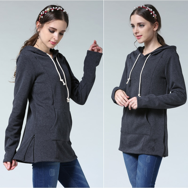 Emotion Moms Winter Maternity Clothes Breastfeeding tops Nursing top Thickened Warming Long Sleeve Maternity Hoodie sweater enlarge